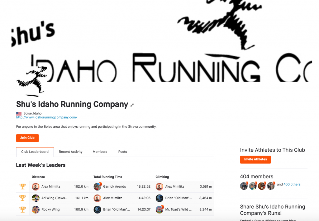 Shu's idaho run club join