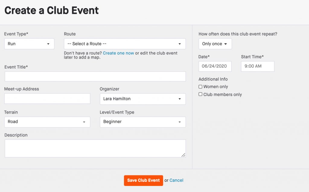 Strava club event form